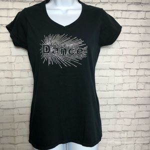 "Black Gildan Soft Style with bling ""Dance"" Top"